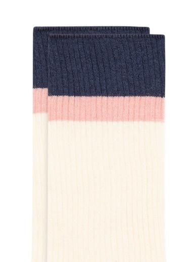 Mavi Bileği Renkli  Soket Çorap Beyaz
